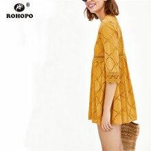 ROHOPO Orange Lace Dress Autumn Women Cotton Hollow Out Ruffles Pleated Peplum Lace Straight Cute Mini Dress Quarter Sleeve недорого