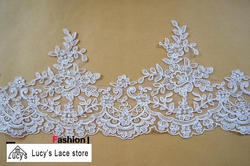 17CM Light ivory Traditional wedding dresses wedding veils sewing lace trim 7 yards