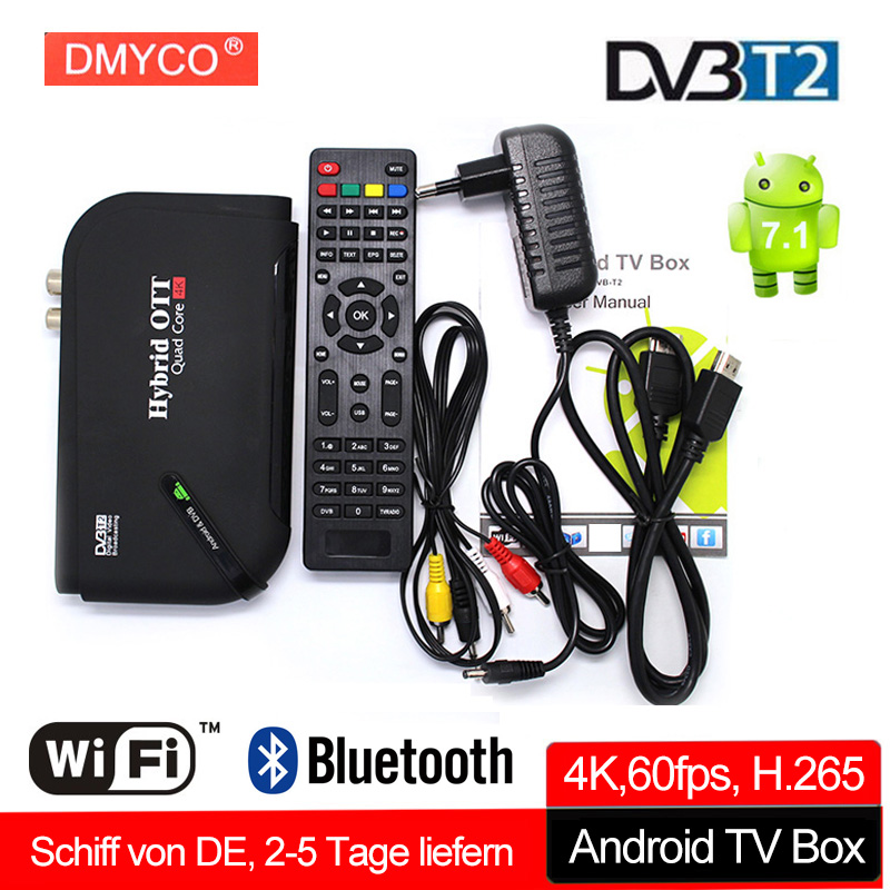 Smart Android 7.1 TV BOX DVB-T2 S905 Quad-core 1GB 8GB 2.4GHz WiFi Set-top Box H.265 VP9 UHD 4K*2K 60fps HD DVB T2 Media Player android 7 1 1gb 8gb dvb t2 quad core ott bt4 0 h 265 mpeg 4 dvb t2 tv tuner support netflix youtube google 4k smart set top box