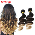 Blonde Brazilian Hair Weave Bundles Ombre Human Hair Extension 1B/4/27 Three Tone Ombre Brazilian Hair 3 Pcs Brazilian Body Wave