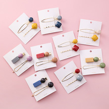 2019 Summer New Candy Color Acrylic Square Round Beads Hairpins For Women Fashion Hair Accessories 2 pcs Gold Metal Clips