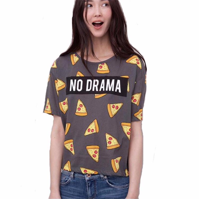 HTB1beE1OXXXXXasapXXq6xXFXXXN - No Drama Pizza Print Women T Shirts Short Sleeve