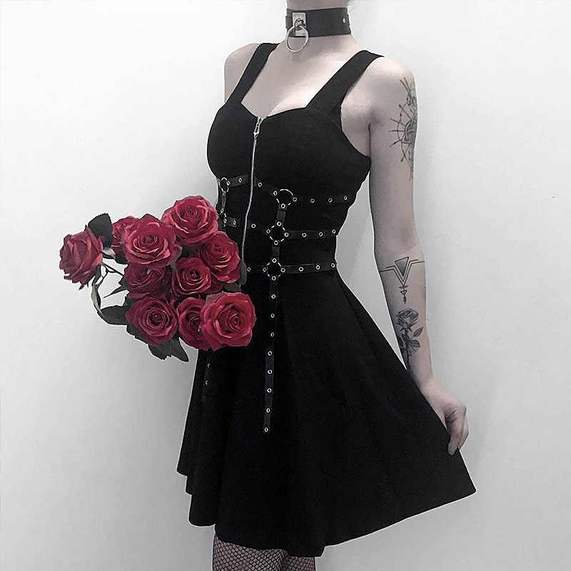Женское платье без рукавов, готическое платье-мини с кольцами, на молнии, сексуальное платье-трапеция с открытой спиной, в стиле Харадзюку, 2019