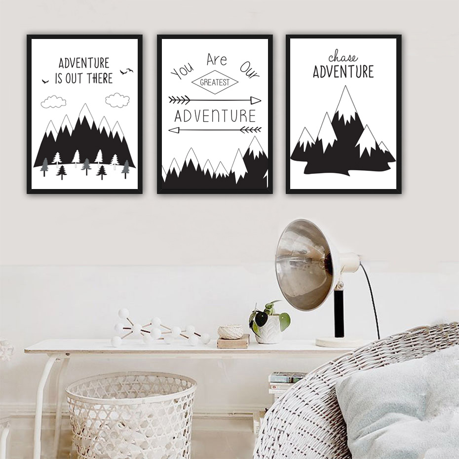 Black white nordic adventure mountain inspiring quotes a4 canvas art print wall pictures for for Wall art quotes for living room