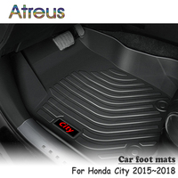 Atreus NEW 1Set TPE Car Floor Foot Mat For Honda City 2015 2016 2017 2018 Styling Boot Liner Car accessories Waterproof Carpet