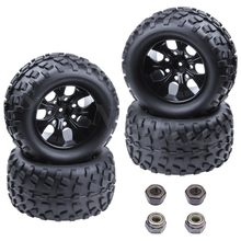 4x RC Tires & Nylon Wheel Rims Foam Inserts 12mm Hex Hub for 1/10 Scale Monster Truck Redcat Volcano EPX Pro S30 Blackout XTE(China)
