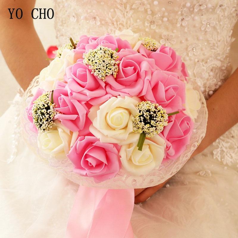 Bridal Wedding Bouquet Bridesmaid Artificial PE Rose Flower Fake  1