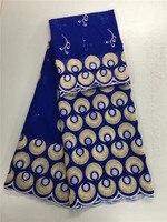 สไตล์แฟชั่นผ้าฝ้าย100%สีฟ้าลูกไม้ผ้าแอฟริกันปักลูกไม้Voileสวิสผ้าด้วยt ulleสุทธิเสื้อสำหรับการแ...