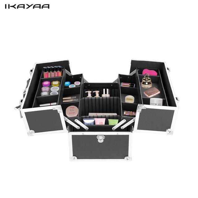 Exceptional IKayaa US FR Stock Aluminum Makeup Train Case Organizer Locking Portable  Makeup Box Storage Bag With