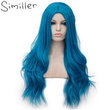 Similler Cosplay Long Wavy Full Synthetic Wigs for Women Blue Fluffy Hair Wig with Cap 25 Colors Halloween Gift