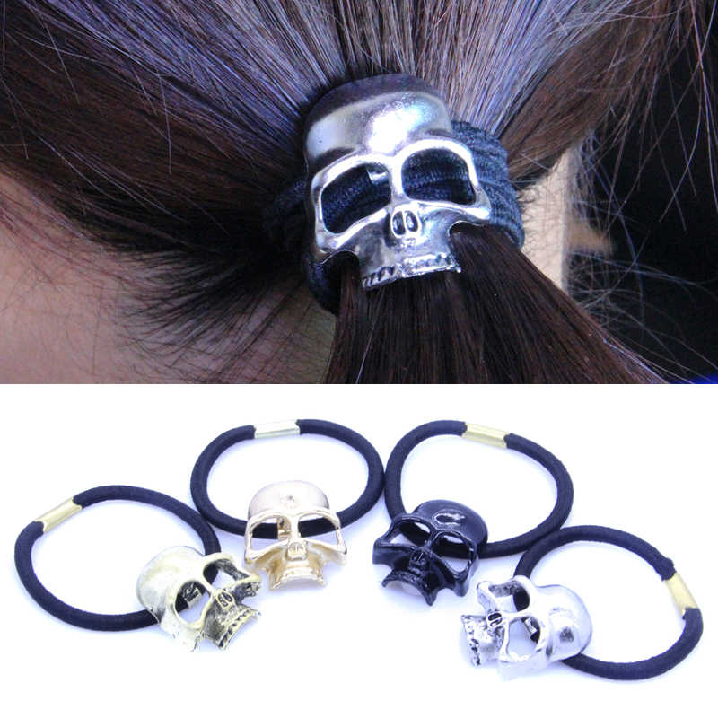 Retro Vintage Punk Gothic Hair Accessories Metal Skull Hair Tie Skeleton Elastic Hair Bands Hair Accessories Jewelry For Women