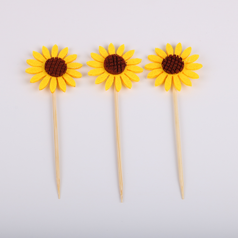 6pcs/lot Sunflower Cake Cupcake Toppers Picks Kid's Birthday Party Decorations Party Supplies Favors Children Gifts image