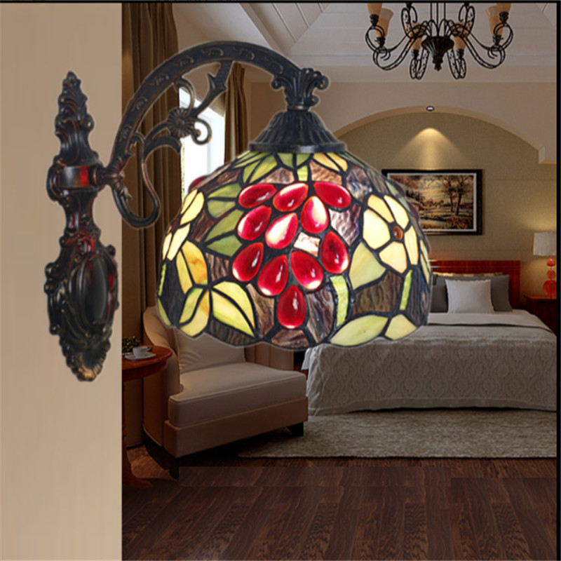 Tiffany wall lamp, Baroque wall lamp ,20cm sunflower wall mounted tiffany light for balcony,bedroom, corridor TEN-W-013 tiffany baroque sunflower stained glass iron mermaid wall lamp indoor bedside lamps wall lights for home ac 110v 220v e27