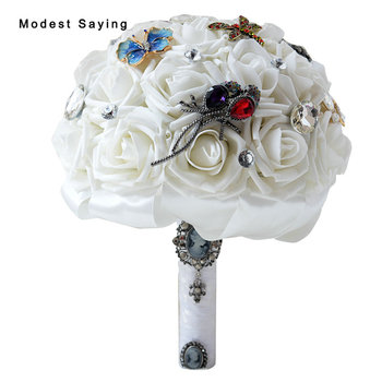 Classic Jewelry Artificial Rosette Wedding Bouquets 2017 with Crystal Bridal Flowers Bridesmaid Bouquet Wedding Accessories