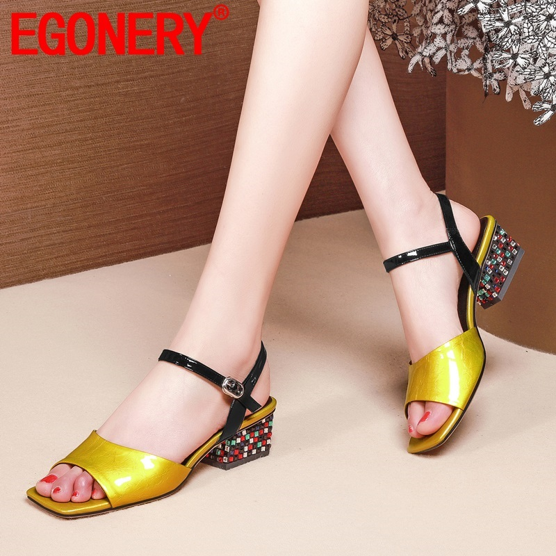 EGONERY <font><b>hot</b></font> <font><b>sale</b></font> woman shoes 2019 <font><b>summer</b></font> new fashion <font><b>sexy</b></font> crystal patent leather outside mid heels buckle plus size ladies shoes image