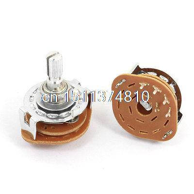 2 Pcs 1P4T 1 Pole 4 Position 6mm Knurled Shaft Dia Band Selector Rotary Switch 4pcs band channael rotary switch 2p3p 2 pole 3 position single deck