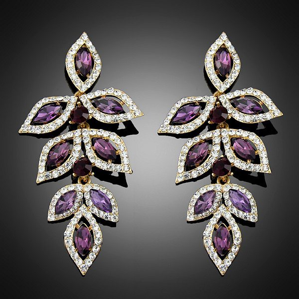 2018 New Purple Earrings For Women Party And Wedding Vintage Long Hot Silver Free Shipping In Drop From Jewelry
