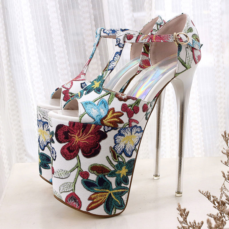 BeckyWalk 2018 New Floral 20cm High Heels Sandals Women Summer Shoes 11cm  Platfrom Nightclub Shoes for Woman Size 34 43 WSH2619-in High Heels from  Shoes on ... e16a46e0312f