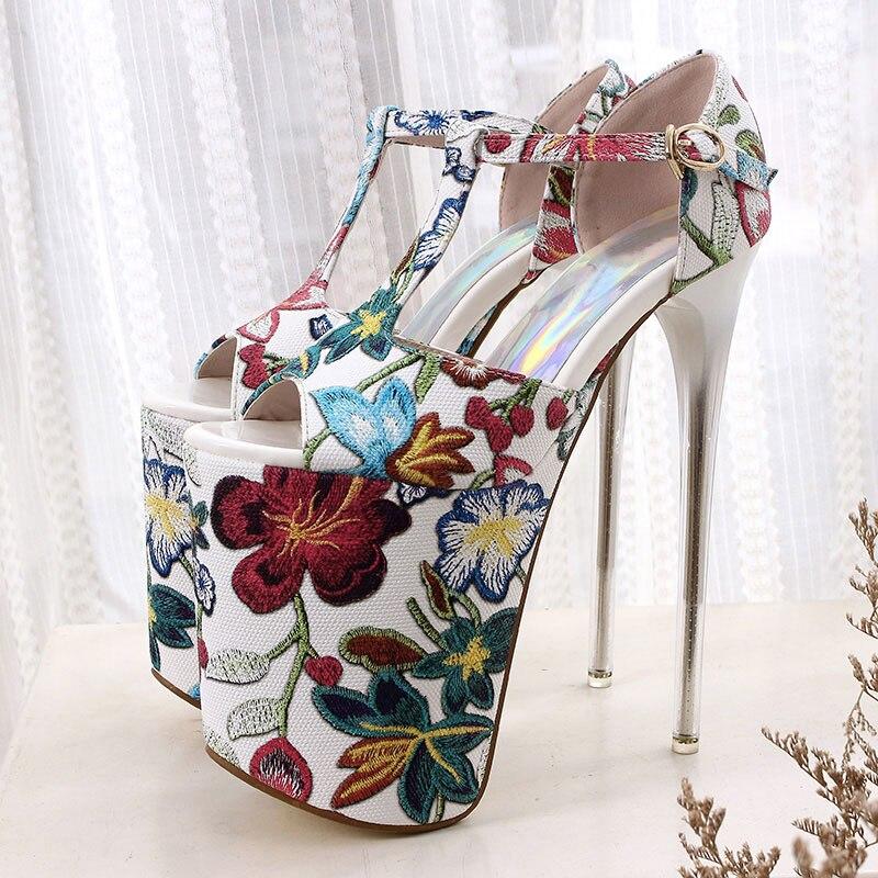2018 Taille Femmes Chaussures Nouveau Floral 34 Wsh2619 Platfrom 20 red Cm D'été Brown 11 Discothèque Beckywalk Hauts Sandales Femme Talons Pour 43 BoQxWdrCeE