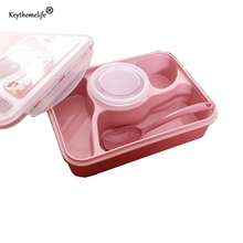 Tragbare Auslaufsicher Mikrowelle rutschfeste Bento Lunch Bowl 5 + 1 Lebensmittelbehälter Aufbewahrungsbox mit Suppenschüssel kinder Geschenk CA