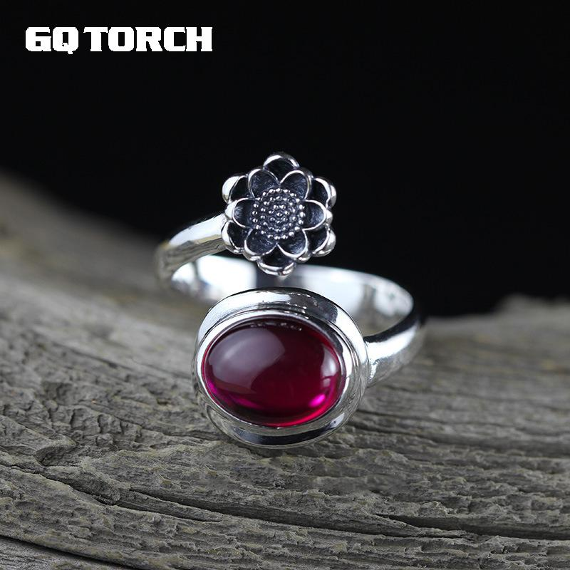 GQTORCH Real Pure 925 Sterling Silver Jewelry Ruby Rings Women Oval Natural Red Corundum Opening Type Vintage Flower Rings handmade stripe pattern exaggerated flower leaves rings wide real pure 999 sterling silver rings for women lady vintage jewelry