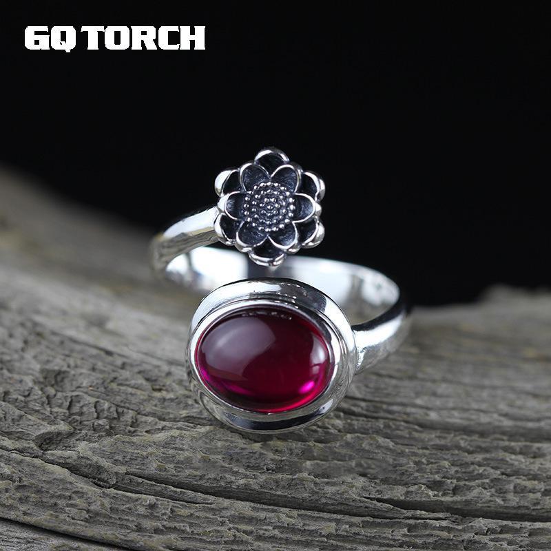 Gqtorch реального чистый 925 стерлингов Серебряные ювелирные изделия Рубин Кольца Для женщин Овальный натуральный красный корунд открытие Тип ... ...