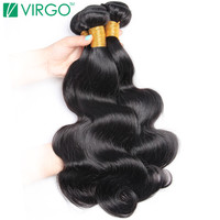V Only Virgo Raw Indian Body Wave Human Hair Weave Bundles Non Remy Full Hair Extensions