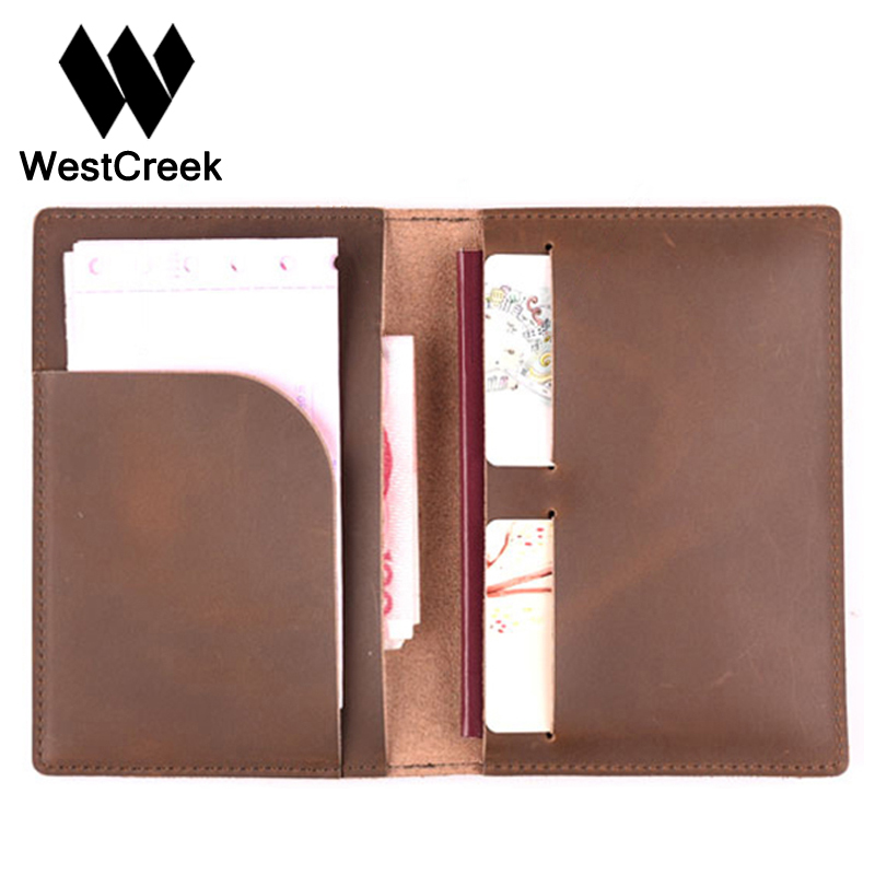 Westcreek Brand Vintage Genuine Leather Travel Passport Cover Wallet Crazy Horse Leather Passport Holder Bag ID
