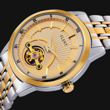 Men Top Luxury Brand Automatic Self wind Wristwatch Mechanical Simple Gold Full Steel Strap Sport Busniess