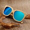 BOBO BIRD Diseño de Lujo de Los Hombres gafas de Sol de Marca de Fábrica Superior Naturaleza Bambú Polarizado Espejo gafas de Sol de Playa con Delicada caja de madera 2017