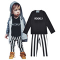 New 2016 boy clothing set Rookly letter T-shirts + stripe pants newborn baby girl clothes high quality ropa bebe infantil nino