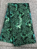 African Lace Fabric High Quality Nigeria Lace Fabric 2018 African Organza Lace Fabric With sequins For Women In green