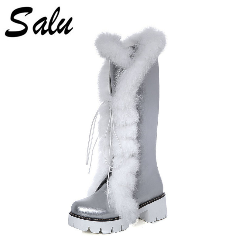 Salu Fashion Lace Up Women Knee High Boots All Match Round Toe Pu Leather Square Heel Ladies Motorcycle Boots Size 34-43 platform square heel half short real leather boots women fashion round toe zipper shoes lace up female bootie size 34 39