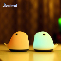 Jiaderui 7 Colors Cute Whale LED USB Children Animal Night Light Silicone Soft Cartoon Baby Room Lamp Decor LED Night lights