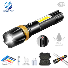 Super bright Rechargeable Bicycle light LED+COB side lamp 6 Light mode waterproof Rotary zoom Bike front lamp Cycling lighting цена и фото