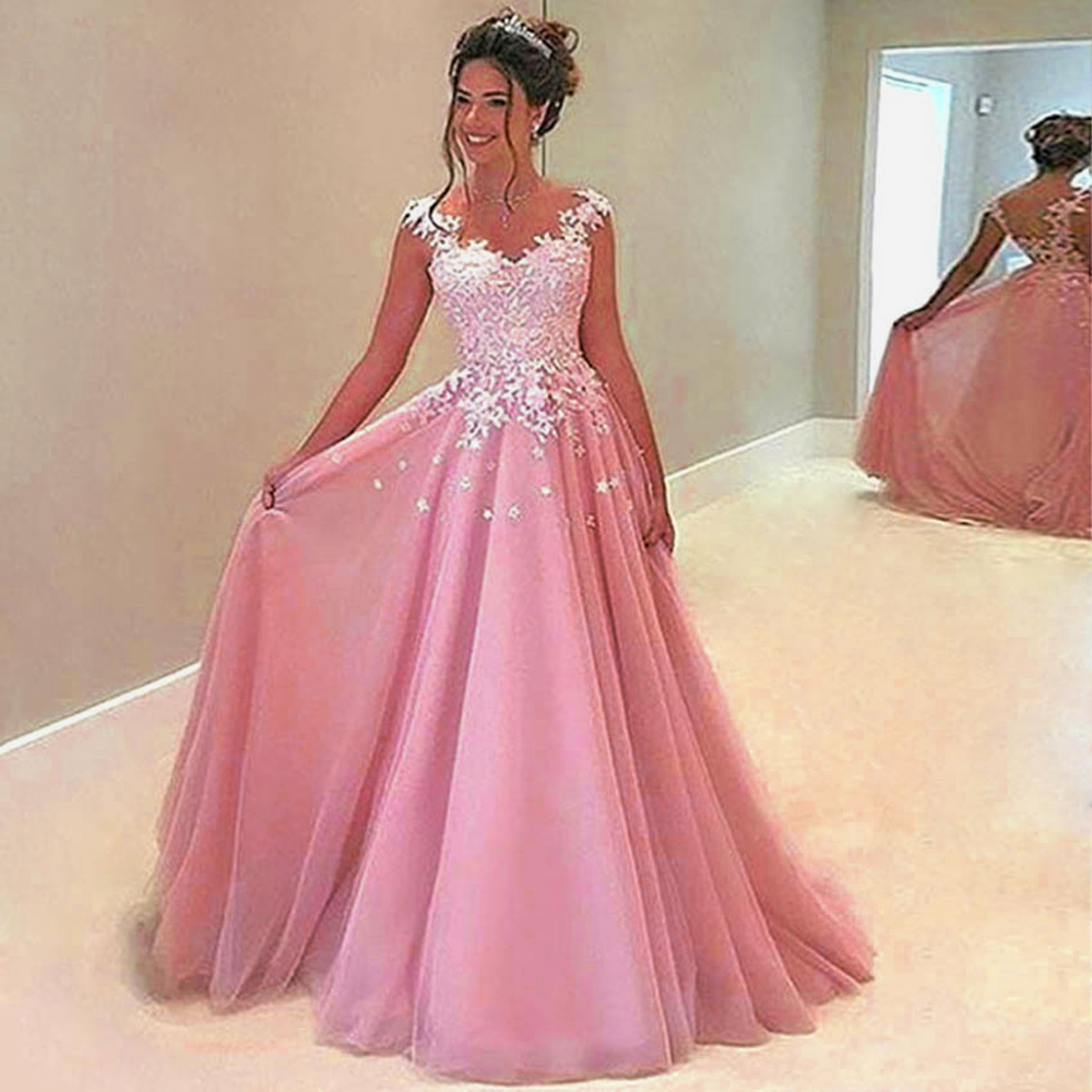 BeryLove Long Pink Evening Dresses 2018 Beaded Tulle Lace Evening ...