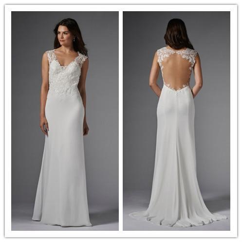 ccedb16be80f Beautiful Sleeveless Illusion Neckline Open Back Lace Bodice Chiffon Sheath  Wedding Dress Bridal Gown