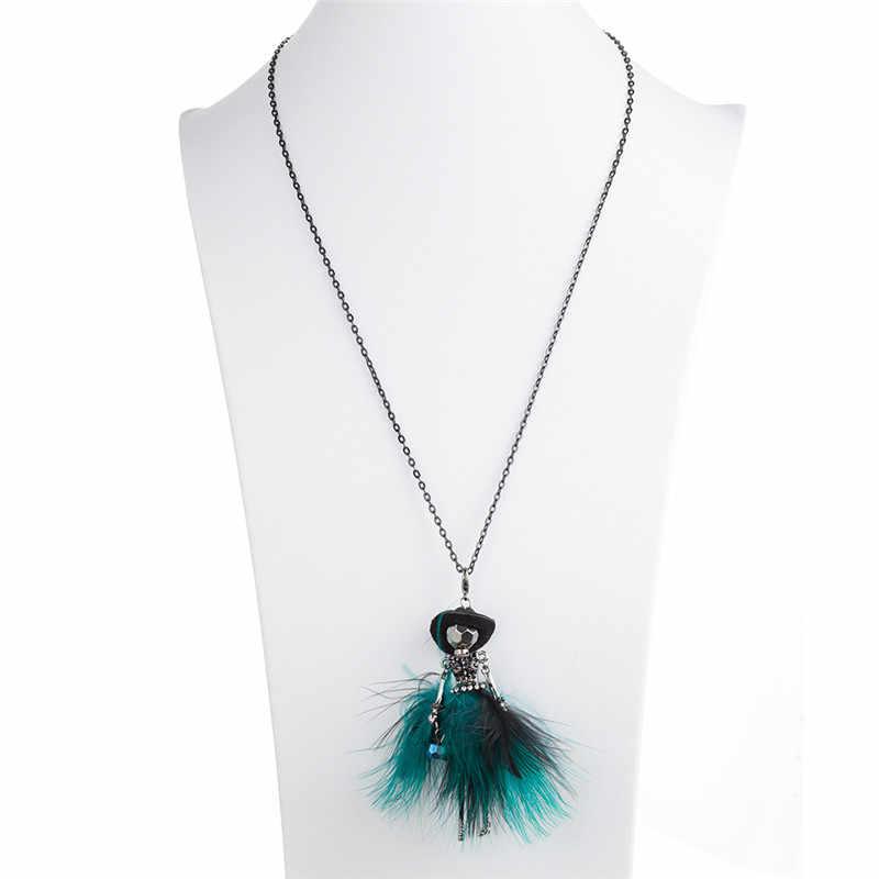 Elegancka, długa łańcuszek wisiorek naszyjniki czarny kapelusz futro sukienka Rhinestone Doll komunikat naszyjnik kobiety akcesoria odzieżowe biżuteria