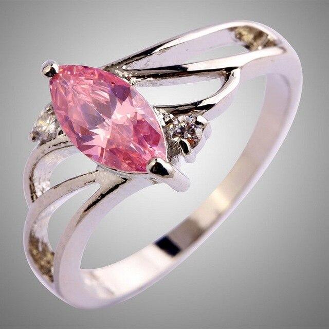 a7e103ac3d3d Las Mujeres Elegantes con encanto Rosa Blanco Piedras Preciosas Creadas en  Laboratorio Anillo de Compromiso Joyería