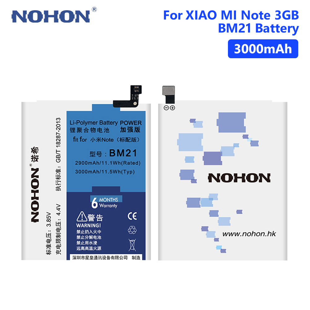 High Quality NOHON BM21 3.85V 3000mAh Mobile Phone Battery For Xiaomi Mi Note (3GB RAM) Smart Phone With Repair Tools