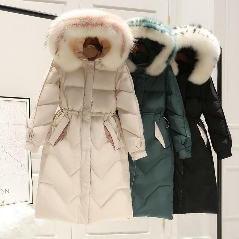 2019 Women Winter Jacket 90% White Duck   Down     Coat   Parka Real Fur Collar Thicken Hooded   Down   Jacket Female Medium Long Overcoat