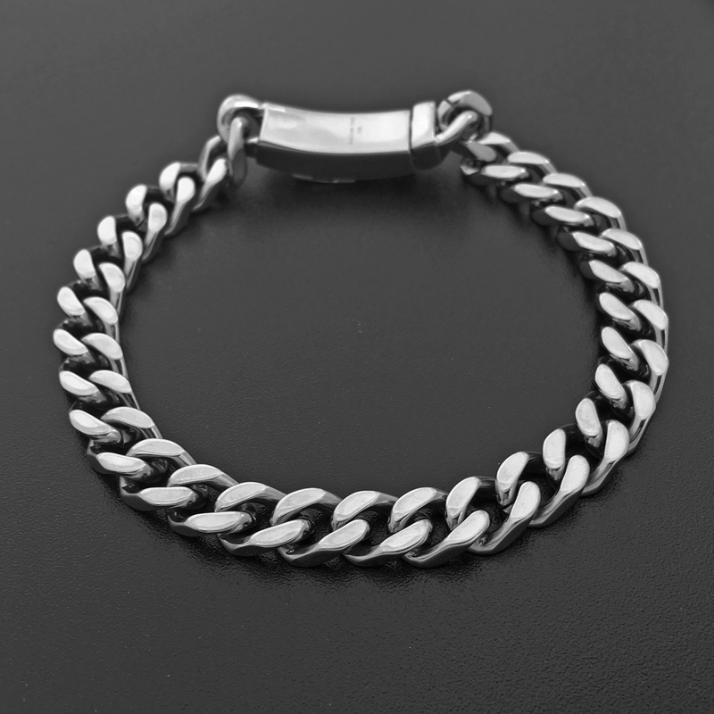 7mm Width Female Link Bracelets Biker Punk Men Chain Hand Charms Stainless Steel Fashion Accessory Party Punk Rock Jewelry 037
