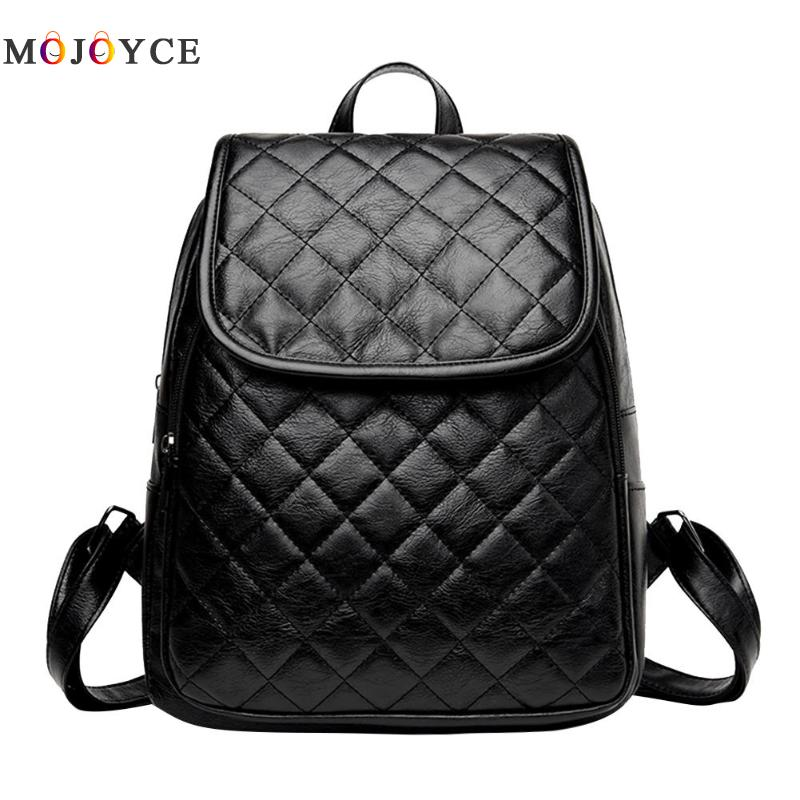 Classic Women Zipper Diamond Lattice Leather Backpacks Teenage Girls Travel Shoulder Back Pack Mochila Feminina #1