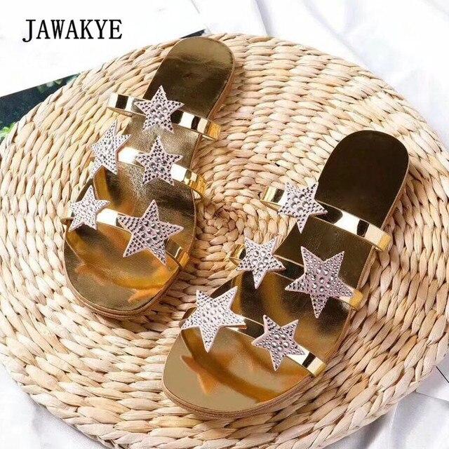 27630ef2fcff 2018 Silver Gold Black Rhinestone Star Flat Slipper Woman Open Toe Fashion  Gladiator Sandals Women Beach Shoes Femme