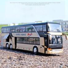 1:32, высокая имитация, двойной экскурсионный автобус, модель, игрушечные машинки, сплав, мигающий Звук, игрушки для детей, подарки на день рождения