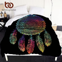 BeddingOutlet Dreamcatcher Duvet Cover Mandala Bedclothes 1pc Boho Colored Feathers Bed Cover Black housse de couette 220x240cm(China)