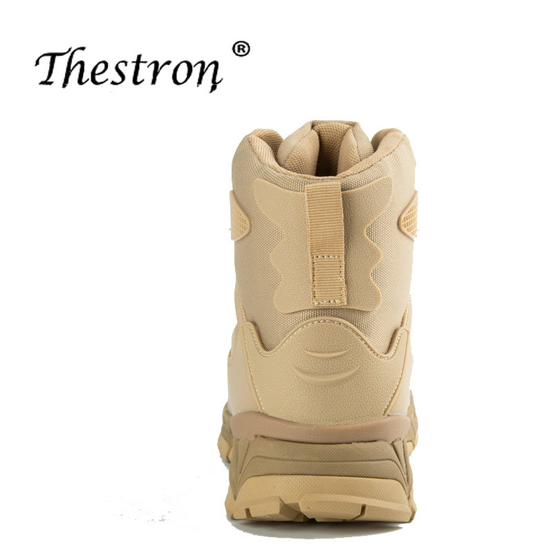 Thestron Man Hiking Shoes Size 40 45 Mens Tactical Boots Autumn Winter Trekking Boot Men Military Black Sand Color Mountain Shoe in Hiking Shoes from Sports Entertainment