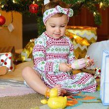 Waiwaibear Baby Girls Dress Christmas Dresses Long-sleeved Autumn&Winter Clothes Cotton For