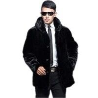 Осень зима Для Мужчин's Искусственный мех пальто толстые теплые мужской пиджак норки искусственный Мех животных Пальто для будущих мам Черн