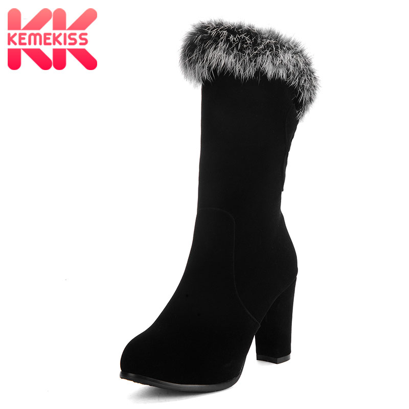 KemeKiss Size 31-43 Women Thick Fur Boots High Heel Boots Half Short Boots Cold Winter Botas Warm Short Boots Women Footwears size 35 41 women high heel boots thick fur genuine leather mid calf boots women winter shoes warm botas women footwears